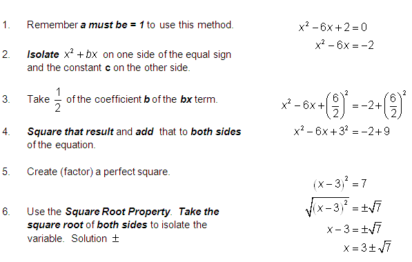 how to complete the square formula