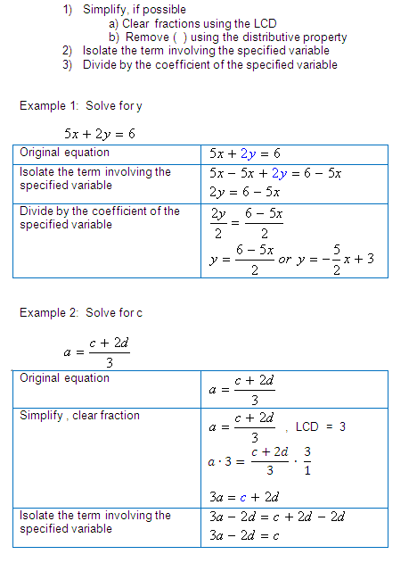 One & Two Variables Equations